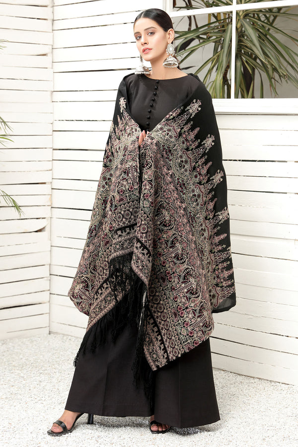 2742-MIDNIGHT-GLAMOUR EMBROIDERED STAPLE SHAWL