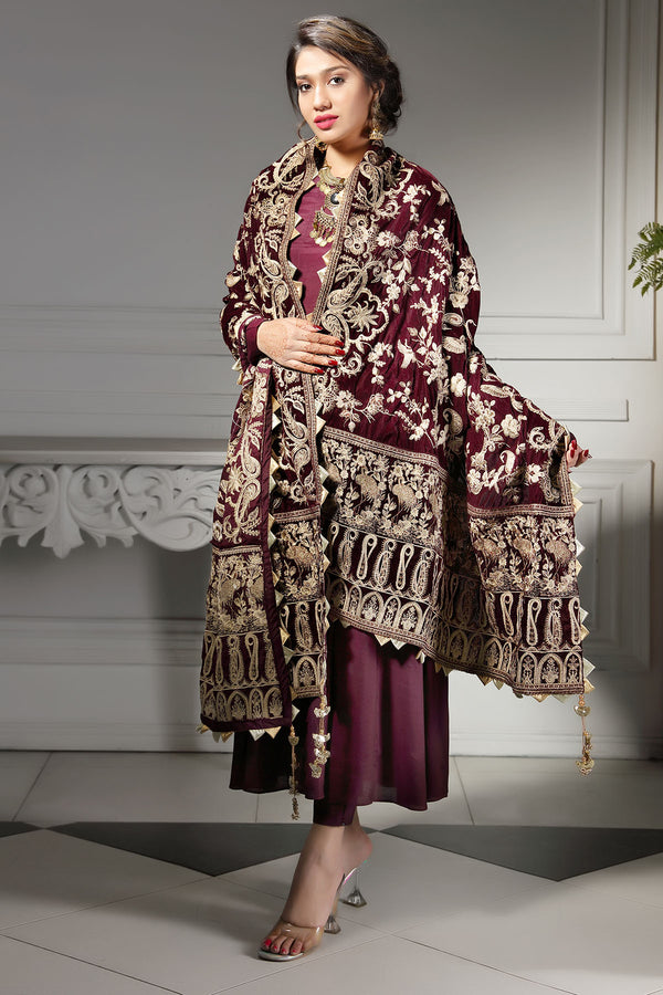 2745-FLAMING-GLOW EMBROIDERED VELVET SHAWL