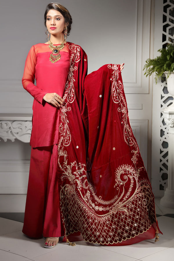 2750-RUBY-SENSATION EMBROIDERED VELVET SHAWL