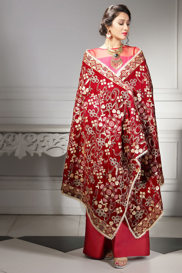 2752-MAH-E-ROOH EMBROIDERED VELVET SHAWL