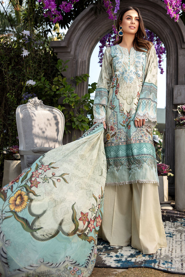 2823-AQUA-BLOOM DIGITAL PRINTED LAWN UNSTITCHED