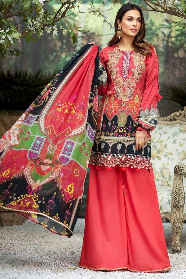 2825-RUBY-RED DIGITAL PRINTED LAWN UNSTITCHED