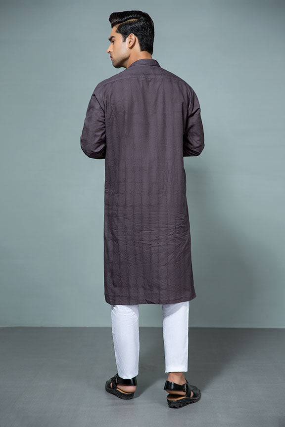 0001-PURPLE-TAUPE MEN KURTA JACQUARD STITCHED
