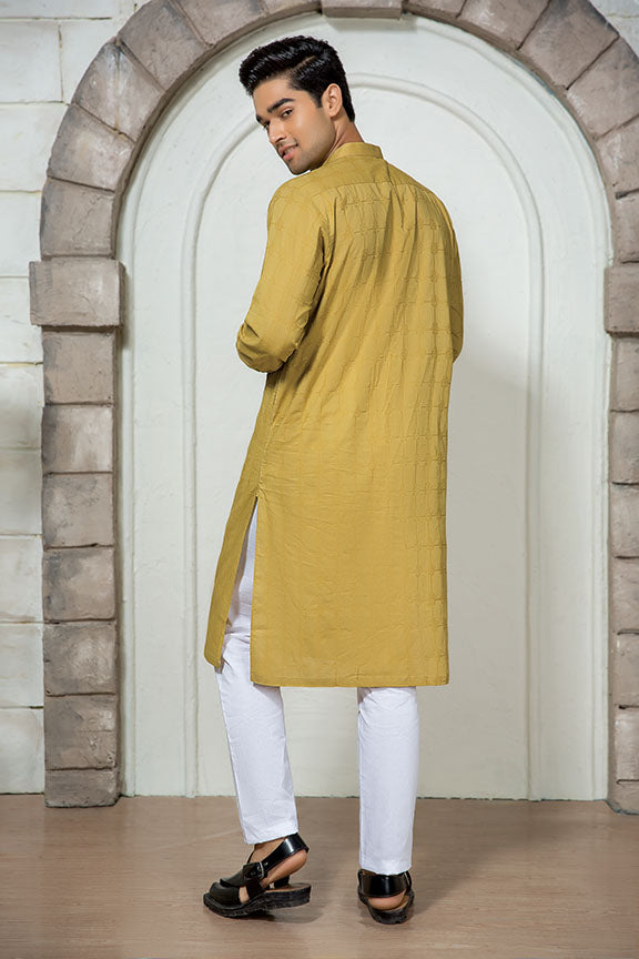 0010-OLD-GOLD MEN KURTA JACQUARD STITCHED