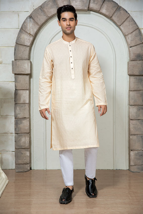 0011-SPRING-WOOD MEN KURTA JACQUARD STITCHED