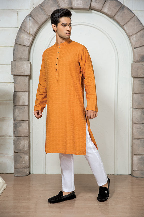 0016-SUN-ORANGE MEN KURTA JACQUARD STITCHED