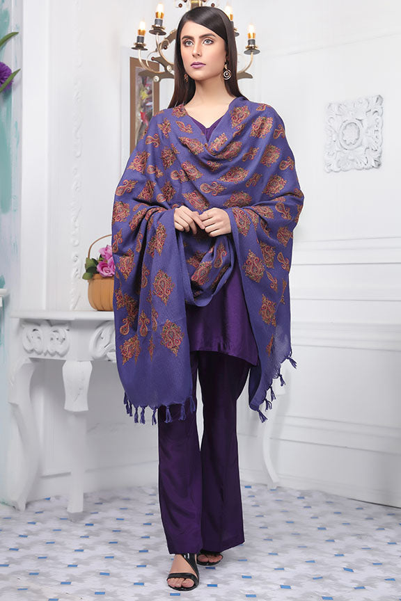 2416-FUN-BLUE EMBROIDERED WOOL SHAWL