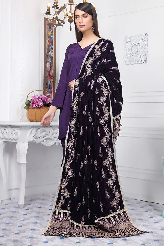 2437-OPAL-PURPLE EMBROIDERED VELVET SHAWL