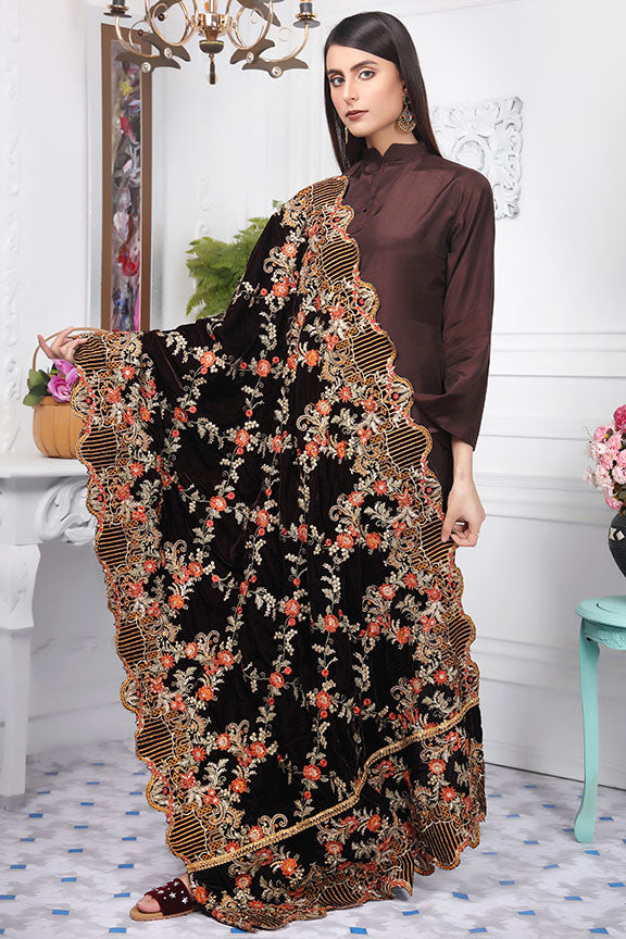 2438-CHOCO-LILY EMBROIDERED VELVET SHAWL