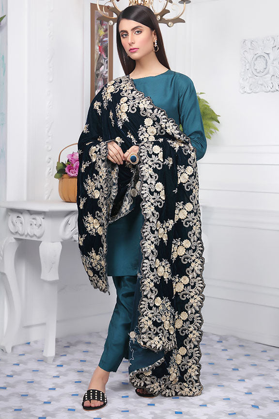 2442-MIDNIGHT-GREEN EMBROIDERED VELVET SHAWL