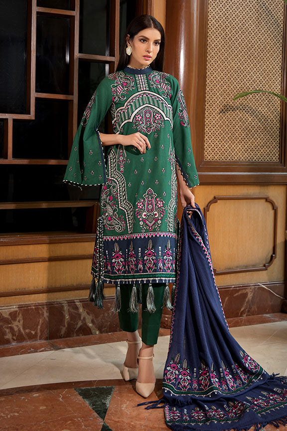 2376-VERDANT-PAISELY EMBROIDERED KHADDAR UNSTITCHED