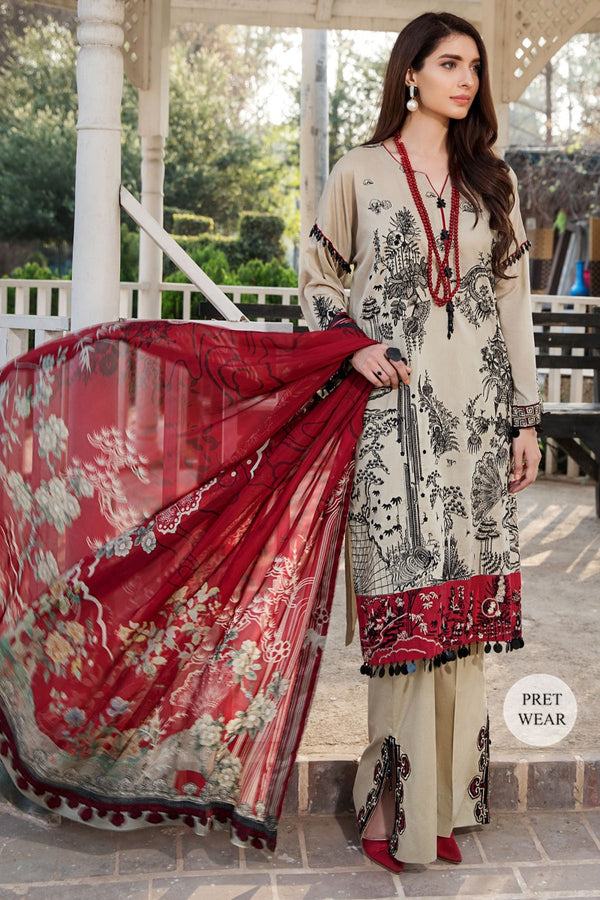 2443-MIST-GREY EMBROIDERED LAWN STITCHED
