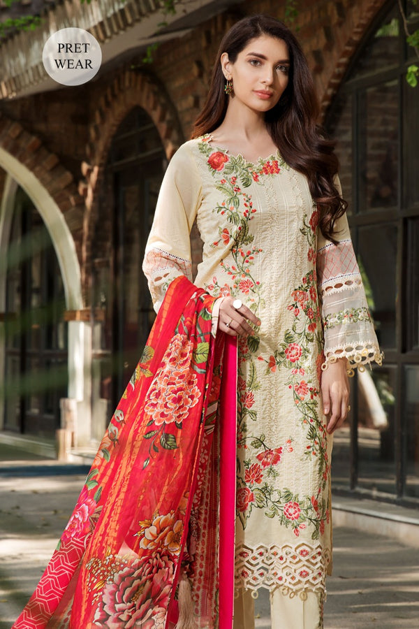 2449-YELLOW-MIST EMBROIDERED LAWN STITCHED