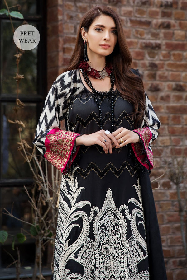 2450-BLACK-ELEGANCE EMBROIDERED LAWN STITCHED