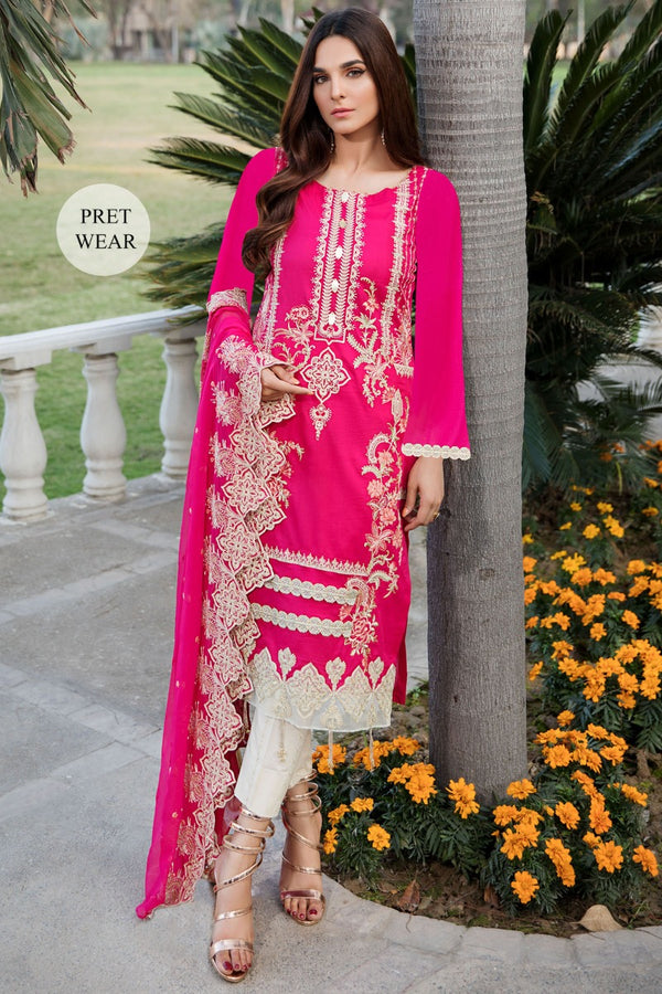 2451-HOT-PINK EMBROIDERED LAWN STITCHED