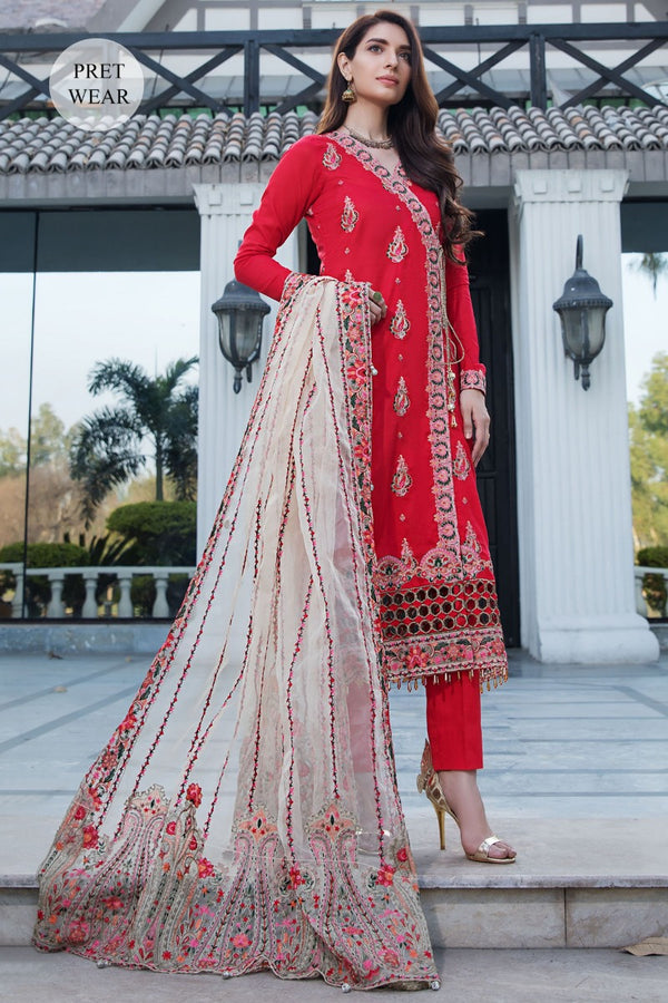 2453-REDICAL-RED EMBROIDERED LAWN STITCHED