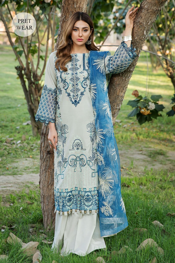 2455-QUILL-GREY EMBROIDERED LAWN STITCHED