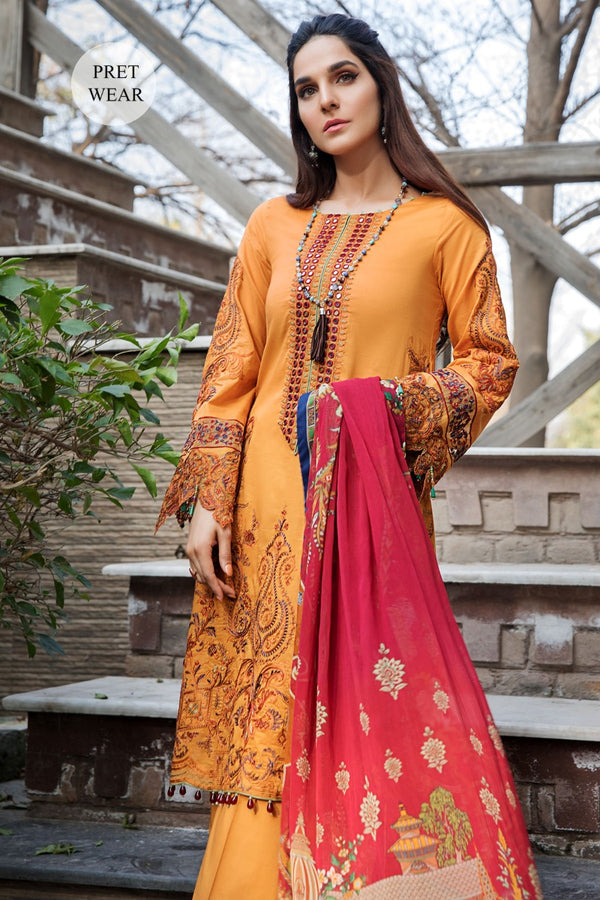 2458-TULIP-TREE EMBROIDERED LAWN STITCHED