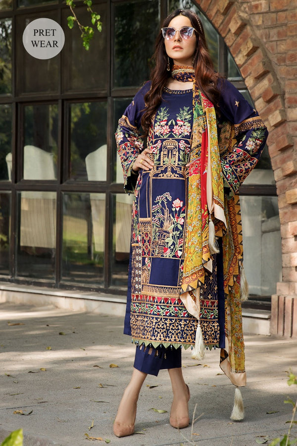 2460-COLD-PURPLE EMBROIDERED LAWN STITCHED