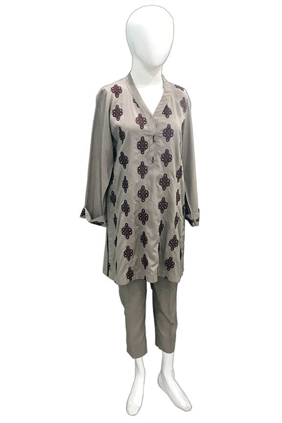1072-MINK EMBROIDERED LINEN STITCHED