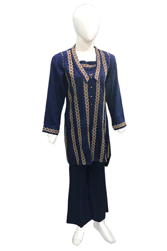 1200-NAVY-BLUE EMBROIDERED LINEN STITCHED