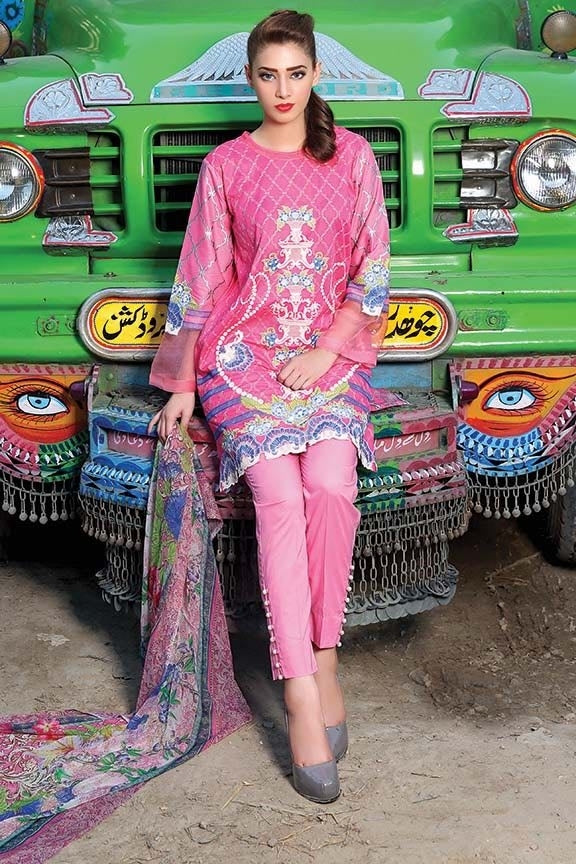 1414-HOT-PINK EMBROIDERED LAWN UNSTITCHED