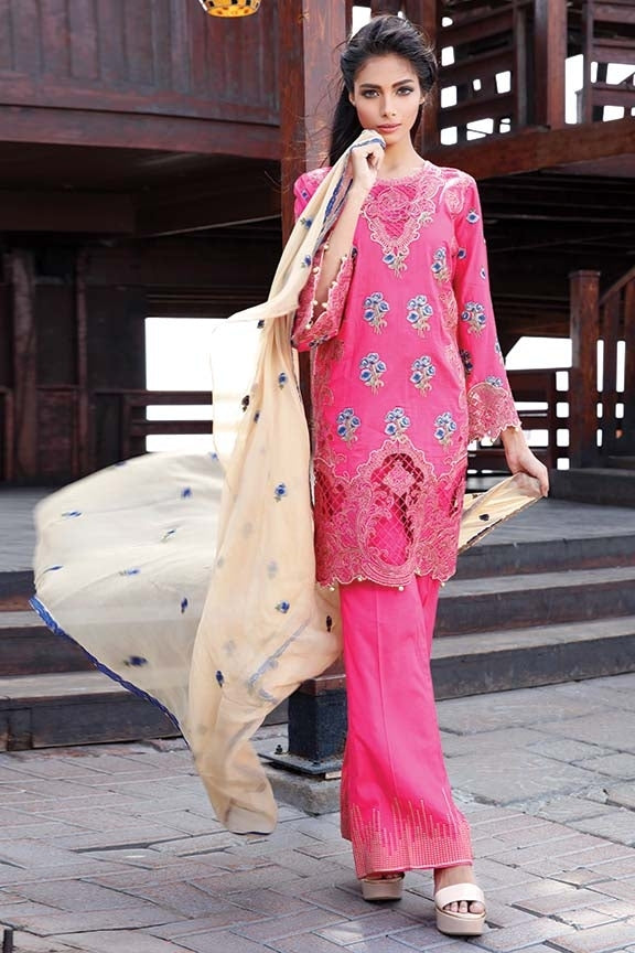 1582-FUSHCIA-ROSE EMBROIDERED LAWN UNSTITCHED