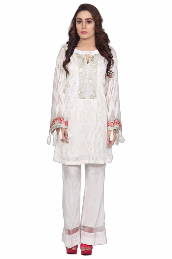 1591-WHITE EMBROIDERED CRINKLE CHIFFON UNSTITCHED