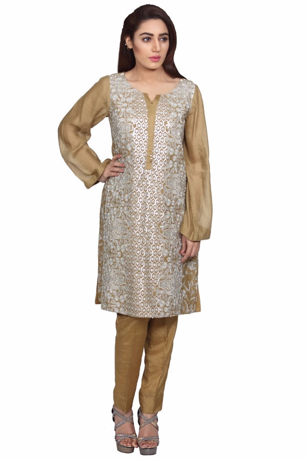 1595-SKIN EMBROIDERED JAMAVAR UNSTITCHED