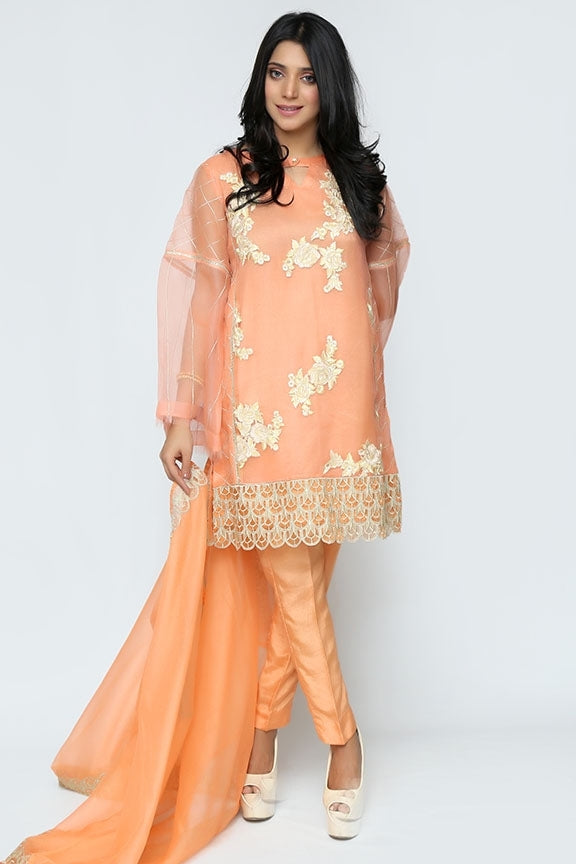 1631-PEACH EMBROIDERED ORGANZA STITCHED