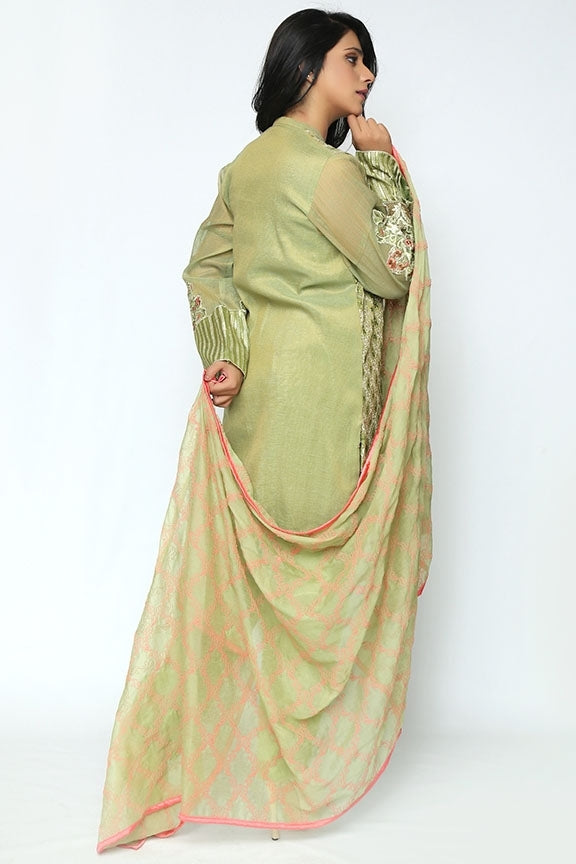 1640-OLIVE-GREEN EMBROIDERED JAMAVAR STITCHED