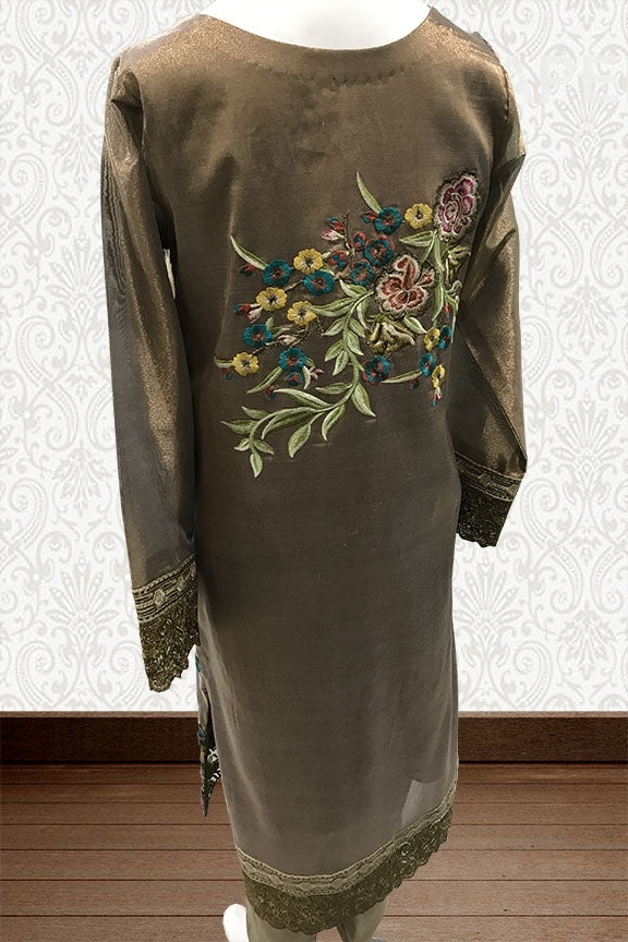 1642-GOLD EMBROIDERED JAMAVAR STITCHED
