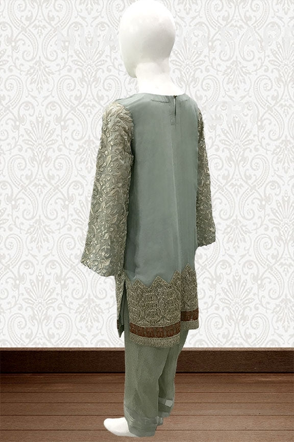 1650-LIGHT-GREEN EMBROIDERED CRINKLE CHIFFON STITCHED