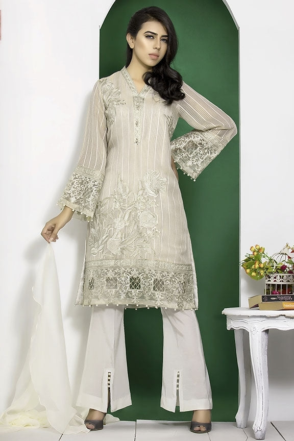 1685-OFF-WHITE EMBROIDERED JAMAVAR STITCHED