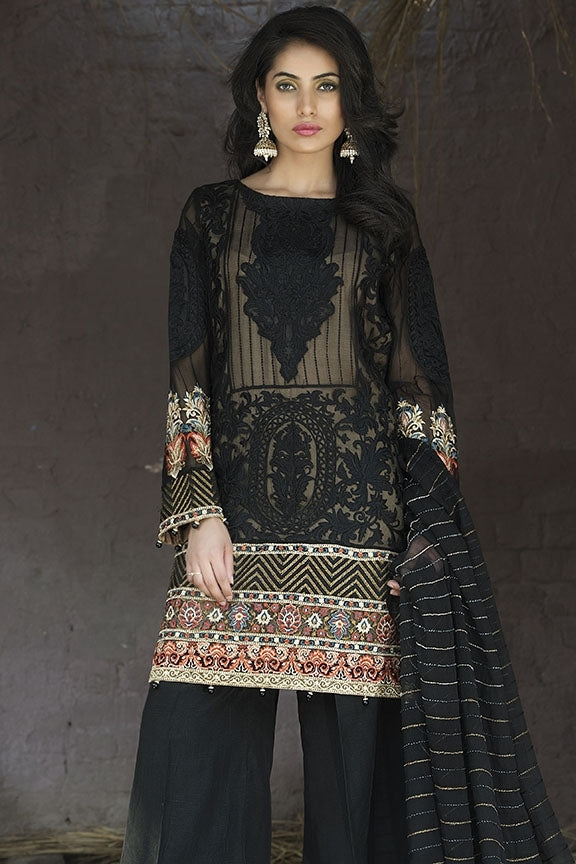 1695-JET-BLACK EMBROIDERED CRINKLE CHIFFON UNSTITCHED