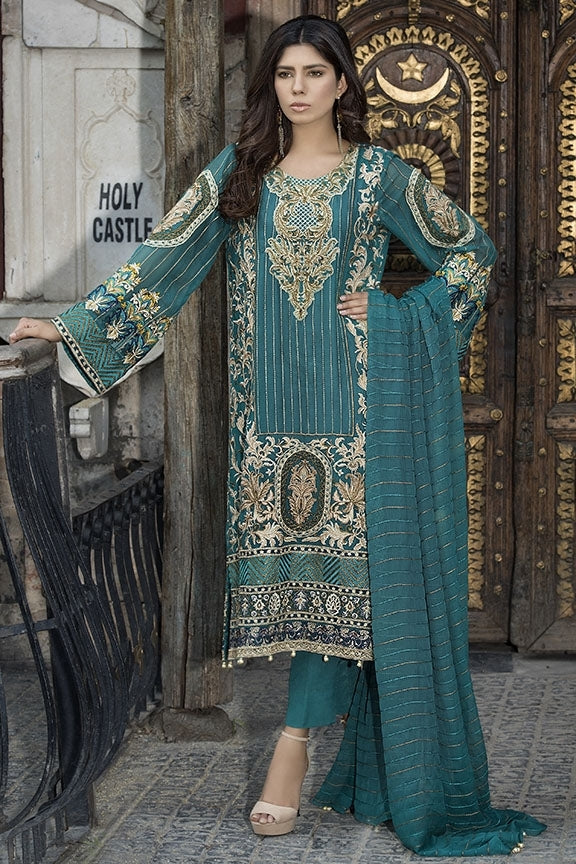 1695-MING EMBROIDERED CRINKLE CHIFFON UNSTITCHED