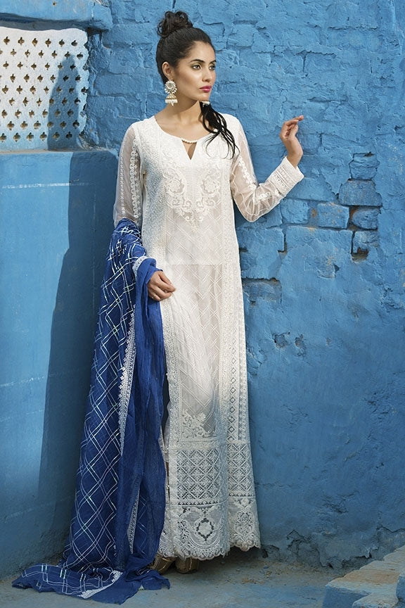 1696-WHITE EMBROIDERED CRINKLE CHIFFON UNSTITCHED