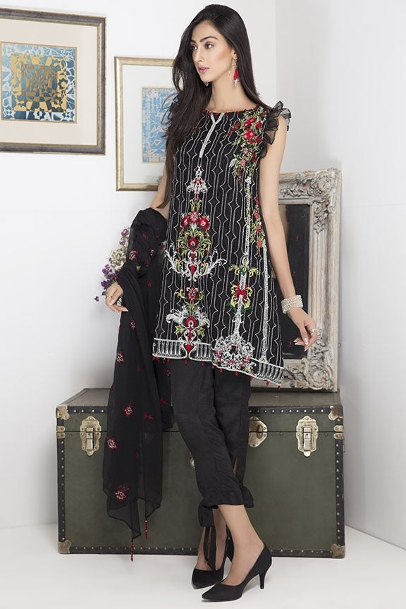 1731-BLACK EMBROIDERED CRINKLE CHIFFON UNSTITCHED