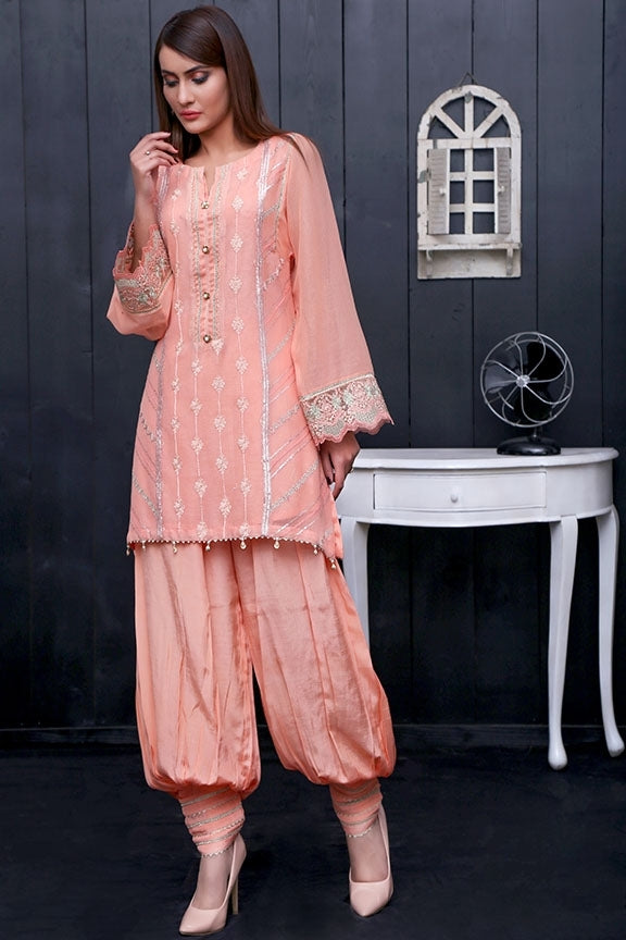 1735-PEACH EMBROIDERED COTTON NET UNSTITCHED