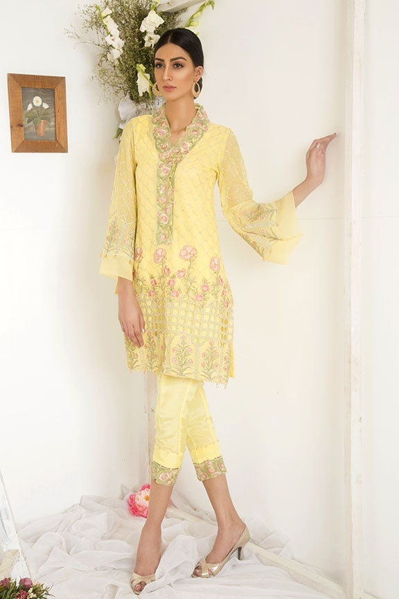1750-YELLOW EMBROIDERED COTTON NET UNSTITCHED
