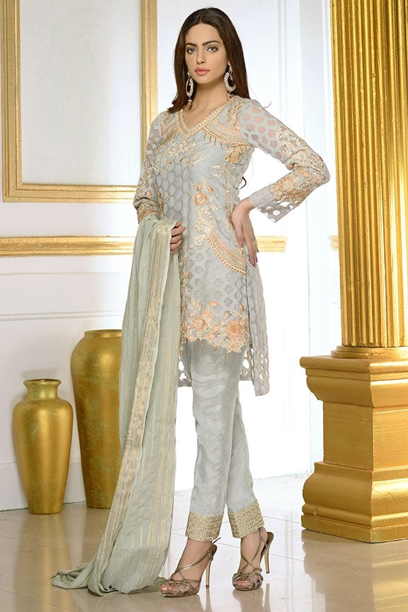 1862-BLUE-GREY EMBROIDERED JAMAVAR STITCHED