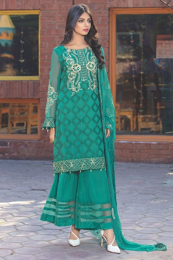 2013-GREEN EMBROIDERED BEMBERG CHIFFON STITCHED