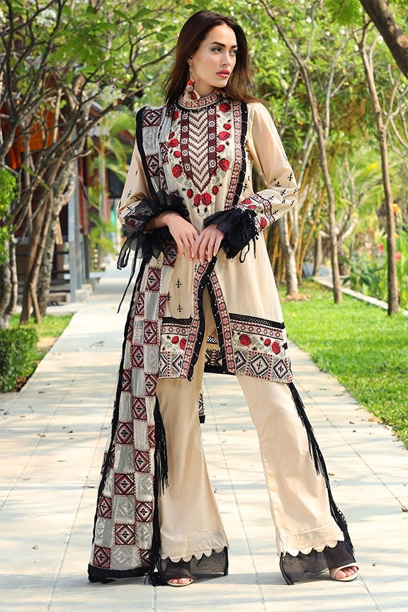 2053-CREAM EMBROIDERED LAWN UNSTITCHED
