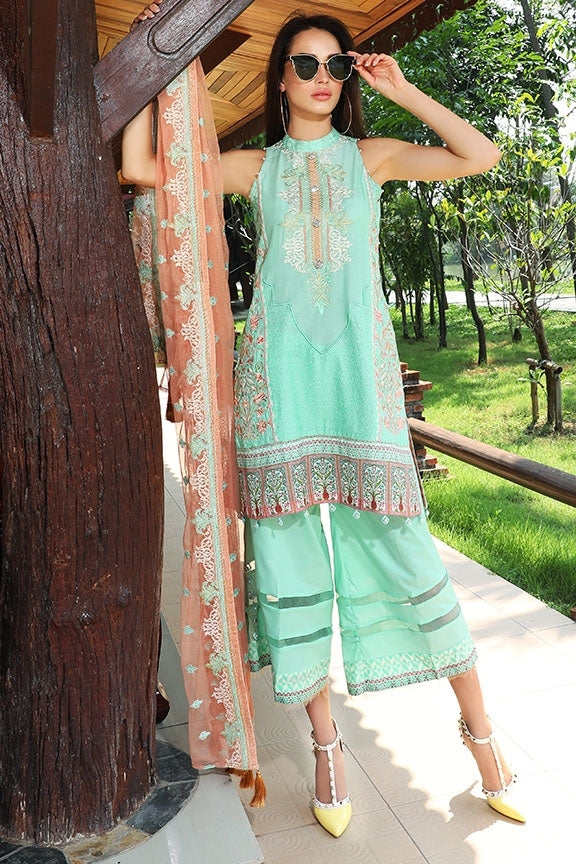 2064 ARCTIC GREEN EMBROIDERED LAWN UNSTITCHED