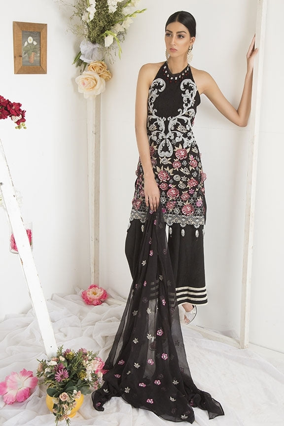 2100-BLACK EMBROIDERED CRINKLE CHIFFON UNSTITCHED