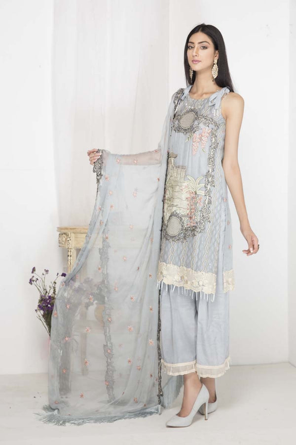 2105-AIRY BLUE EMBROIDERED CRINKLE CHIFFON UNSTITCHED