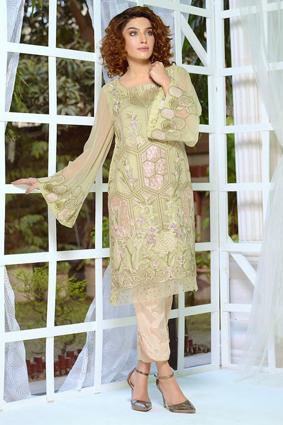 2175-OLIVE- GREEN EMBROIDERED BEMBERG CHIFFON STITCHED