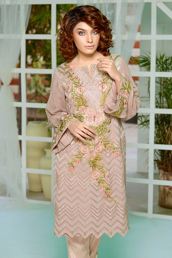 2178-MINK EMBROIDERED COTTON NET STITCHED