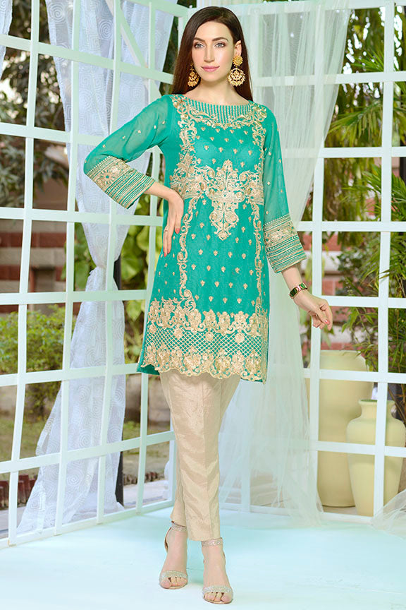 2179-EMERALD EMBROIDERED COTTON NET STITCHED