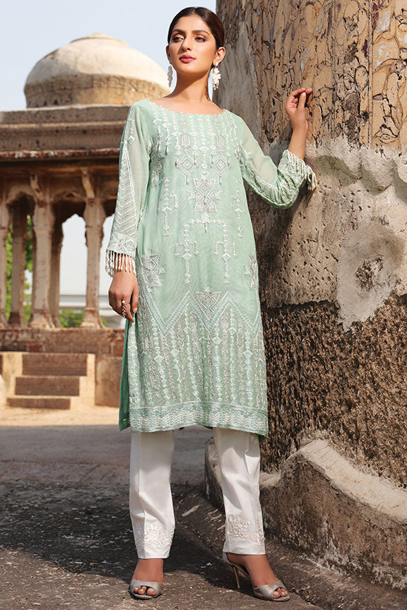 2192-AQUA-GREEN EMBROIDERED COTTON NET STITCHED